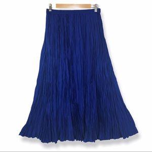 Travelsmith Blue Broomstick Skirt M Maxi Crinkled